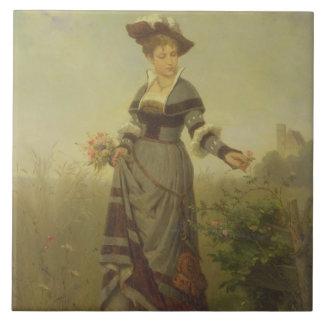 Una cosecha de la señora florece en un paisaje (el azulejo cuadrado grande