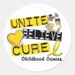 UNA CREEN al cáncer de la niñez de la CURACIÓN Pegatinas Redondas