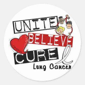 UNA CREEN el cáncer de pulmón de la CURACIÓN Pegatina Redonda