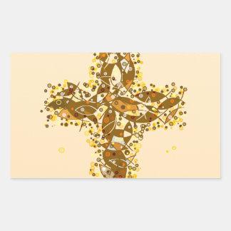 Una cruz a pescado pegatina rectangular