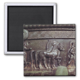Una cuadriga y un hoplita imán cuadrado