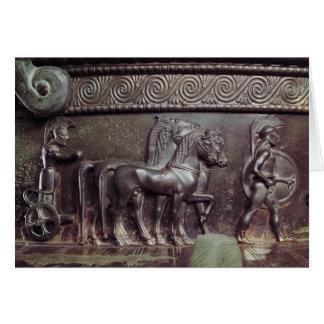 Una cuadriga y un hoplita tarjeta de felicitación