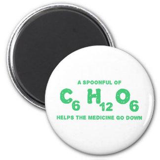 Una cucharada de C6H12O6 ayuda a la medicina para  Imán Redondo 5 Cm