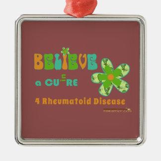¡Una curación para la enfermedad del #rheum! Adorno Navideño Cuadrado De Metal