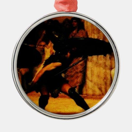 Una danza de Pyrrhic de sir Lorenzo Alma Tadema Adorno Redondo Plateado
