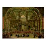 Una danza en un palacio rococó barroco tarjeta postal