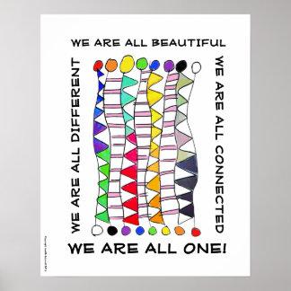 Una de la diversidad celebración única hermosa y póster