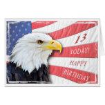 Una décimotercero tarjeta de cumpleaños patriótica