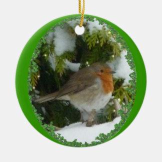 Una decoración del navidad del round robin adorno redondo de cerámica