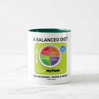 Una dieta equilibrada para el mediodía y la noche taza de café de dos colores