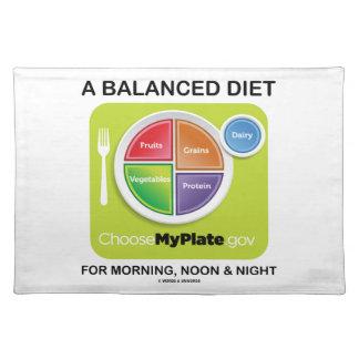Una dieta equilibrada para la mañana, el mediodía  manteles