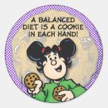 Una dieta equilibrada pegatina redonda
