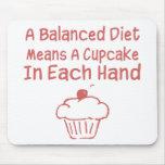 Una dieta equilibrada significa una magdalena en c tapetes de ratón