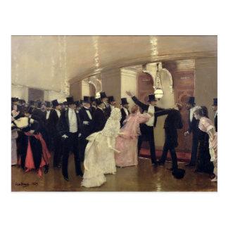Una discusión en los pasillos de la ópera, 1889 tarjeta postal