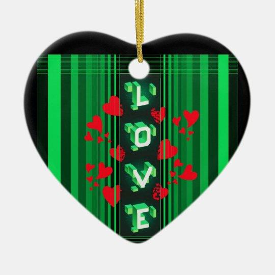 Una diversa clase de amor… adorno navideño de cerámica en forma de corazón