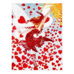 Una ducha de corazones rojos de la hada de la tarj tarjeta postal