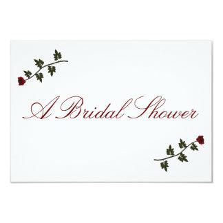 """""""Una ducha nupcial"""" - dos rosas largos rojos del Invitación 3.5"""" X 5"""""""