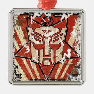 Una - el símbolo de Autobot Adorno Cuadrado Plateado