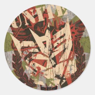 Una - el símbolo de Decepticon Pegatina Redonda