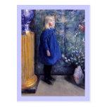 Una en vestido azul postal