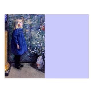 Una en vestido azul postales