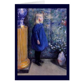 Una en vestido azul tarjetón