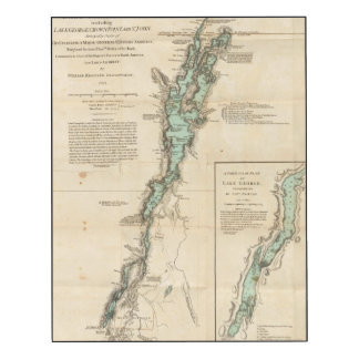 Una encuesta del lago Champlain Impresión En Madera