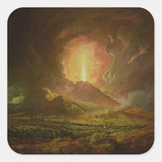 Una erupción de Vesuvio, vista de Portici Pegatina Cuadradas Personalizada