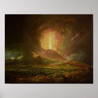 Una erupción de Vesuvio, vista de Portici Póster