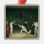 Una escena de cercado, 1827 adorno cuadrado plateado