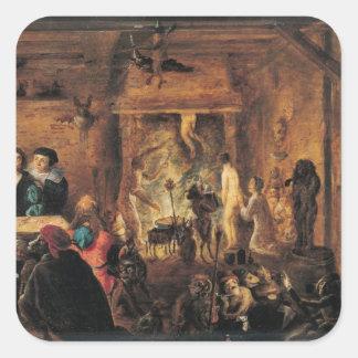 Una escena de la brujería, 1633 pegatina cuadrada