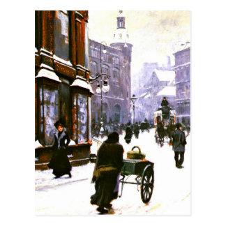 Una escena de la calle en el invierno, Copenhague Tarjetas Postales