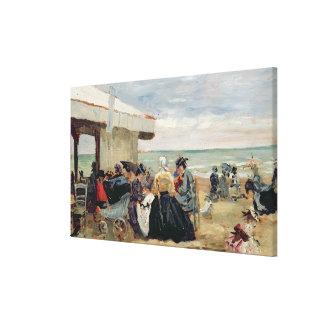 Una escena de la playa lona envuelta para galerias