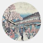 Una escena de la primavera de Nakanocho por Ando, Pegatinas Redondas
