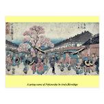 Una escena de la primavera de Nakanocho por Ando,  Tarjeta Postal