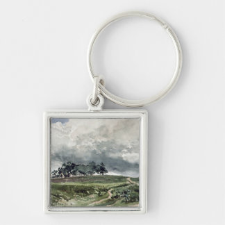 Una escena del brezo llavero cuadrado plateado