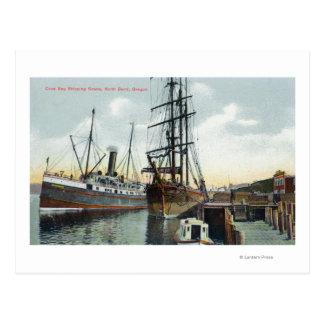 Una escena del envío de la bahía de los Coos en el Postales
