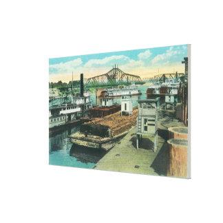 Una escena del envío del puerto en el río Sacramen Lona Estirada Galerías
