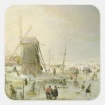 Una escena del invierno con los patinadores por un colcomanias cuadradass