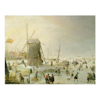 Una escena del invierno con los patinadores por un postal