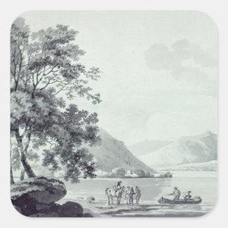 Una escena del lago pegatina cuadrada