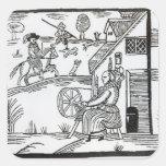 Una escena del país con un giro de la mujer pegatina cuadrada