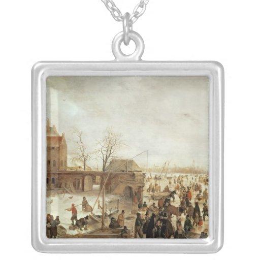 Una escena en el hielo cerca de una ciudad, c.1615 colgantes
