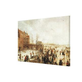 Una escena en el hielo cerca de una ciudad, c.1615 impresiones en lona estiradas