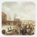 Una escena en el hielo cerca de una ciudad, c.1615 pegatinas cuadradases