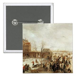 Una escena en el hielo cerca de una ciudad, c.1615 pin cuadrado