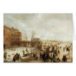 Una escena en el hielo cerca de una ciudad, c.1615 felicitación