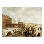 Una escena en el hielo cerca de una ciudad, c.1615 tarjeta postal