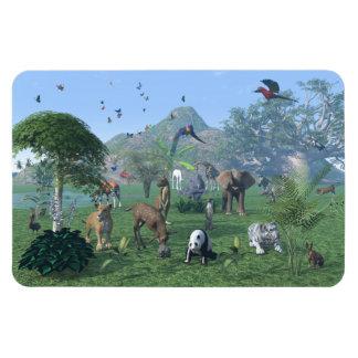 Una escena exótica del animal salvaje iman rectangular