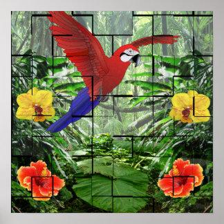 Una escena tropical artsy de la selva tropical posters